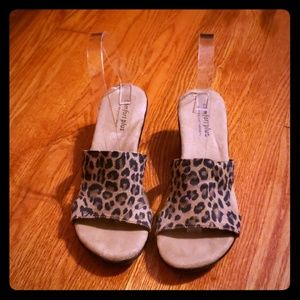 NWOB Comfort Plus Leopard Wedge Slides